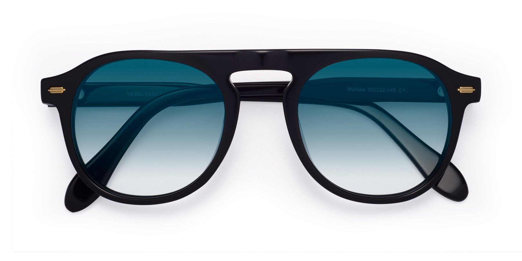 Folded Front of Mufasa in Black with Blue Gradient Lenses
