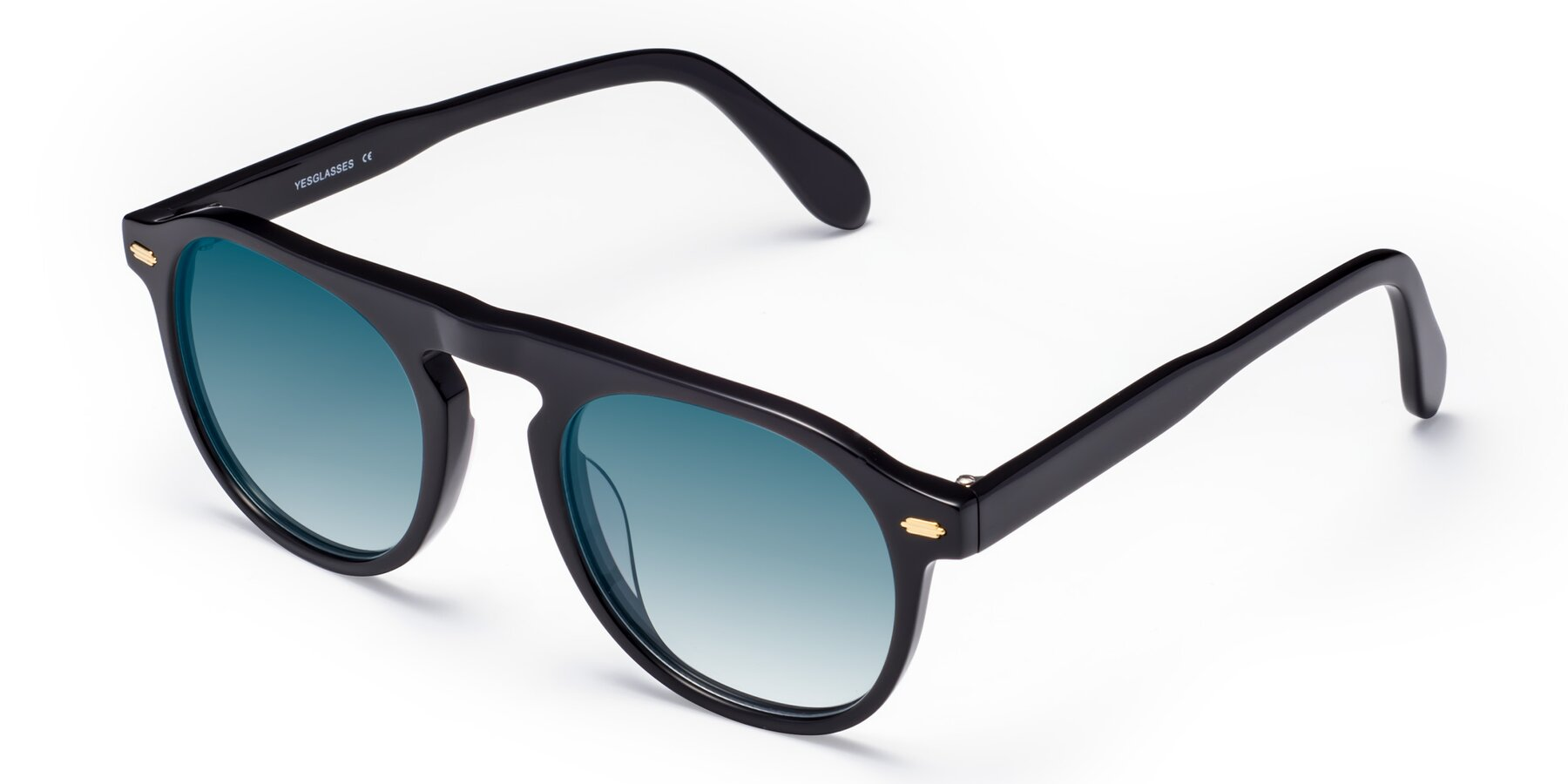 Angle of Mufasa in Black with Blue Gradient Lenses