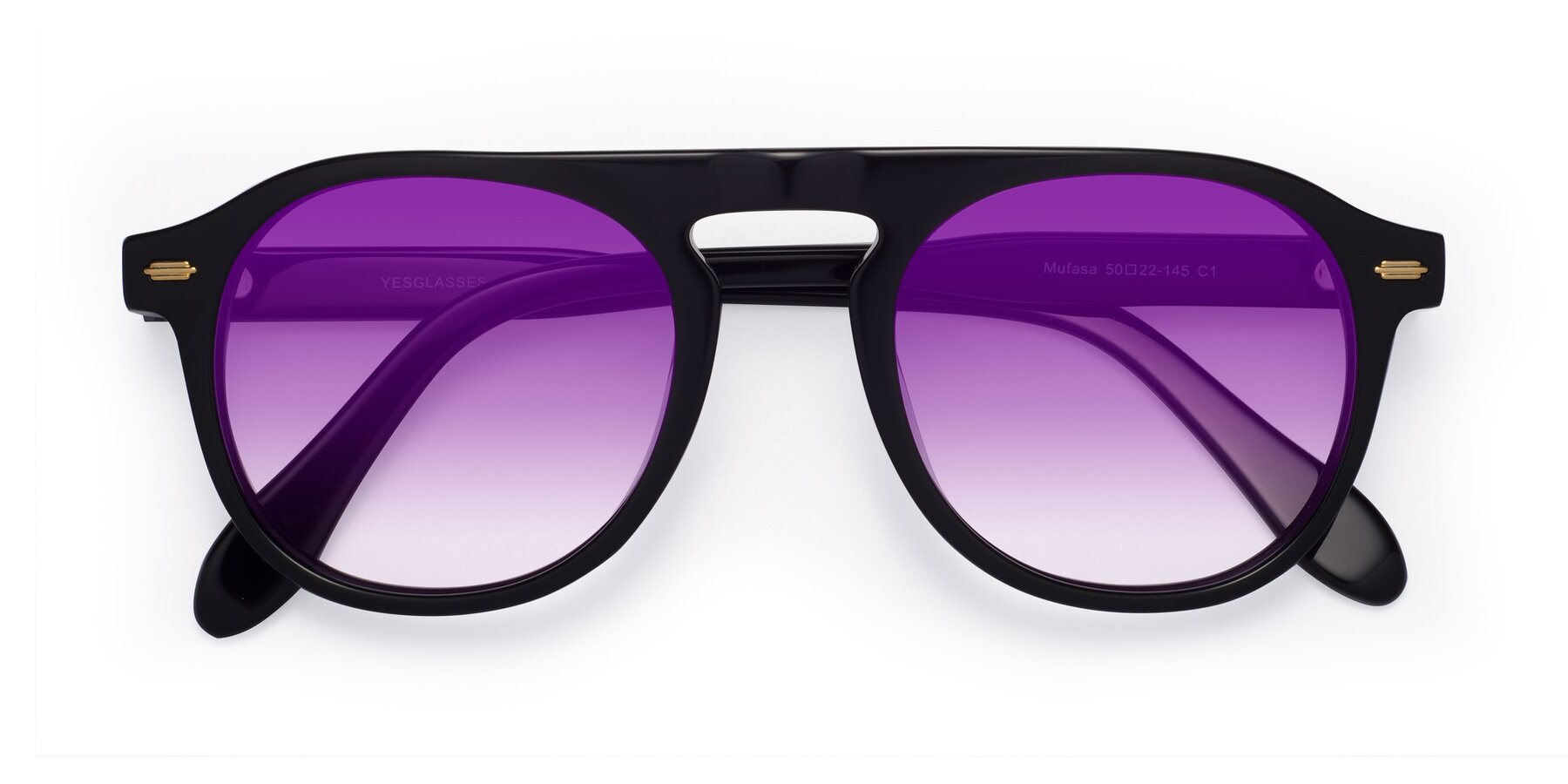 Folded Front of Mufasa in Black with Purple Gradient Lenses
