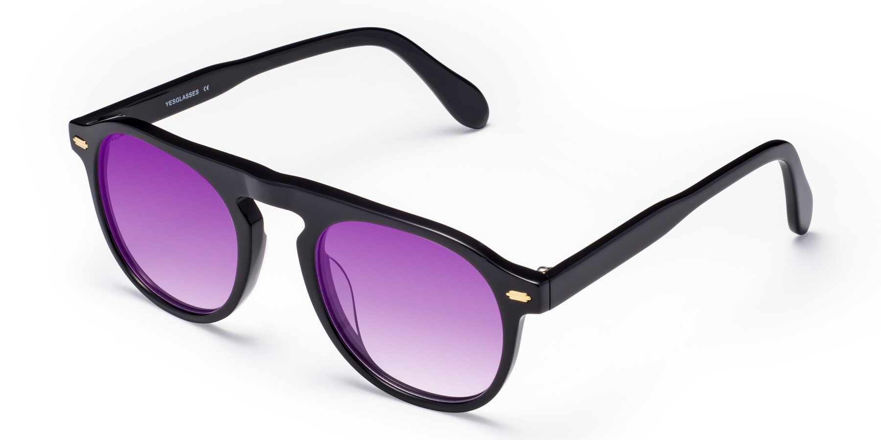 Angle of Mufasa in Black with Purple Gradient Lenses