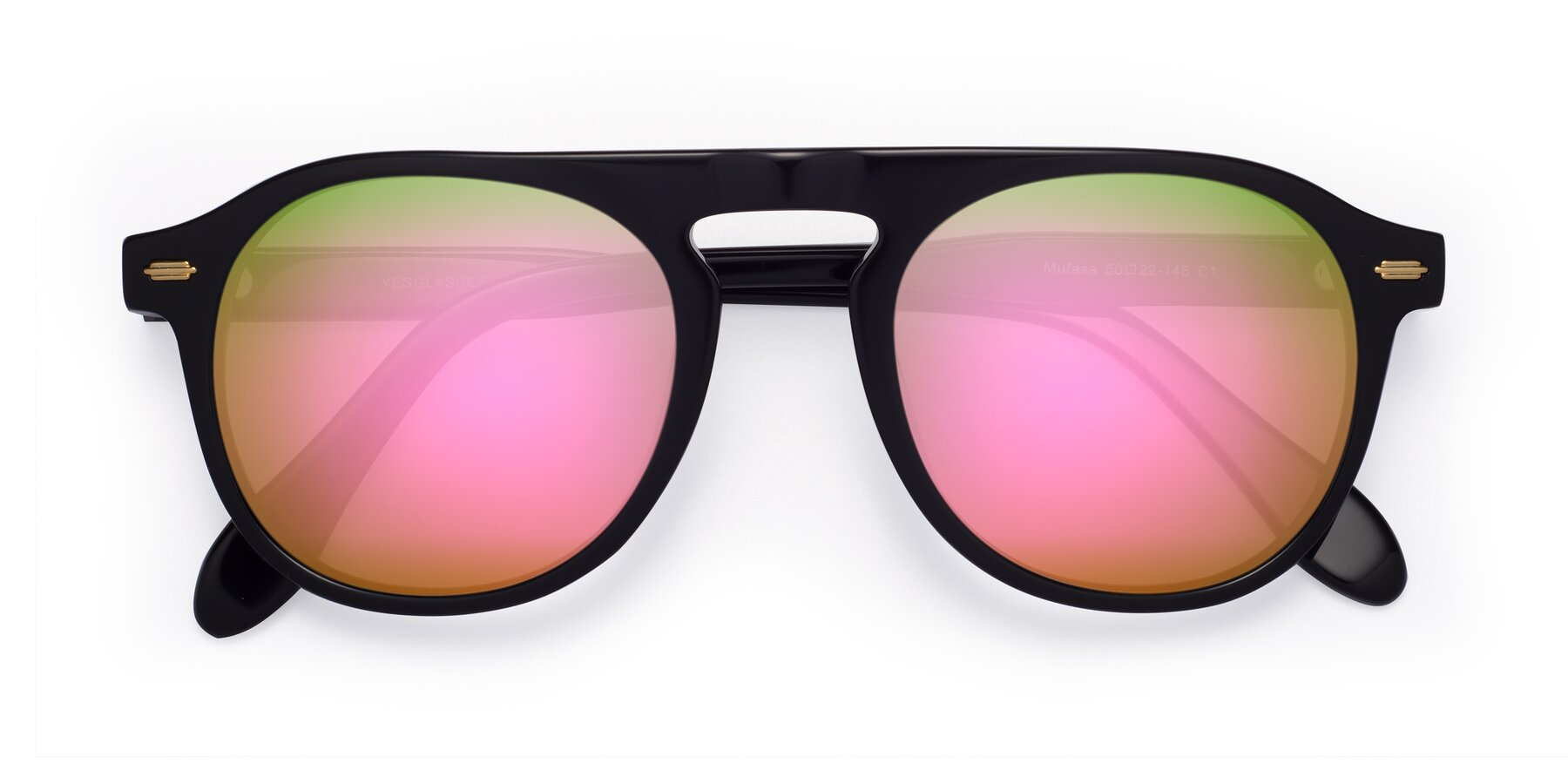 Folded Front of Mufasa in Black with Pink Mirrored Lenses