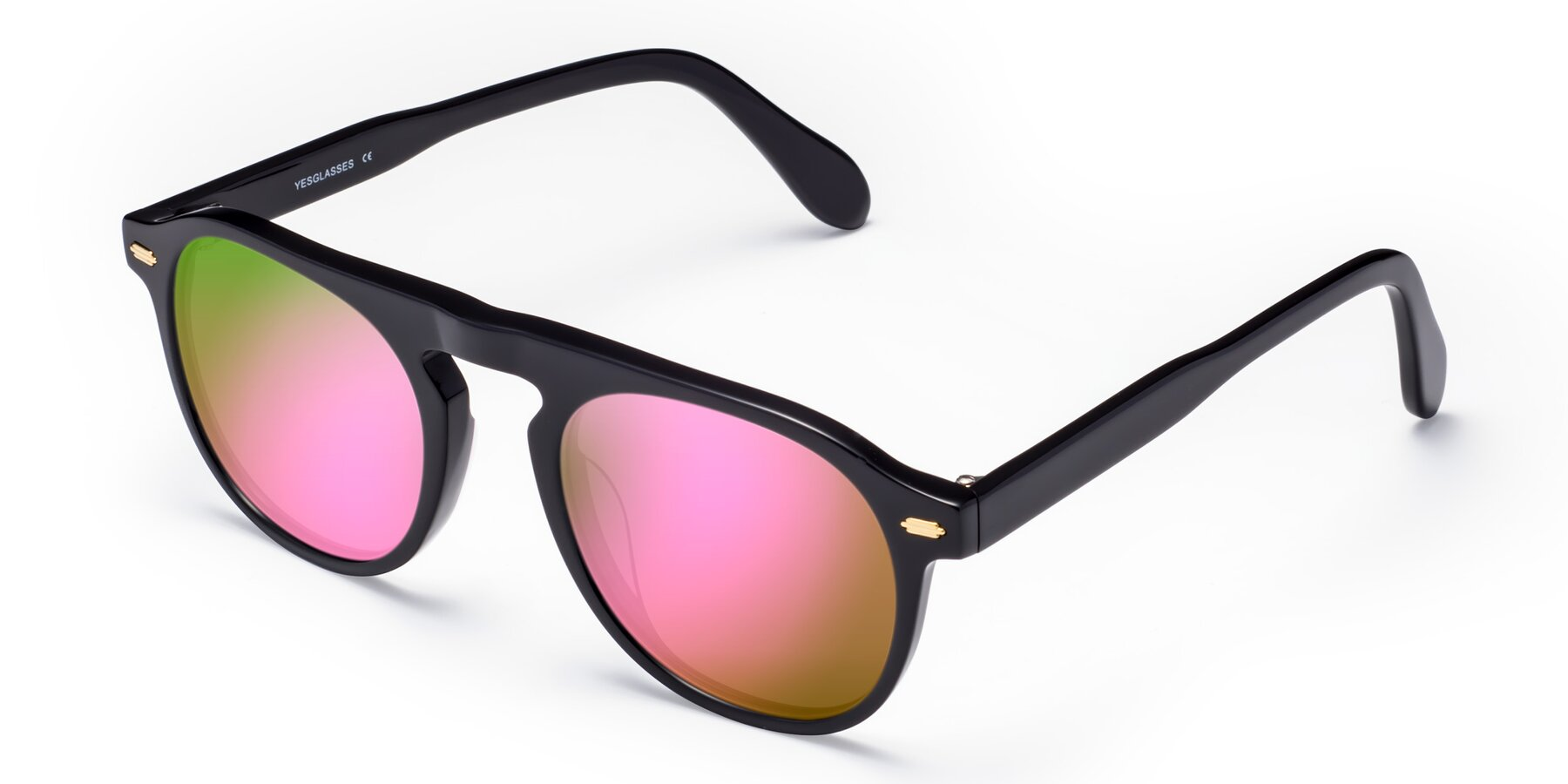 Angle of Mufasa in Black with Pink Mirrored Lenses