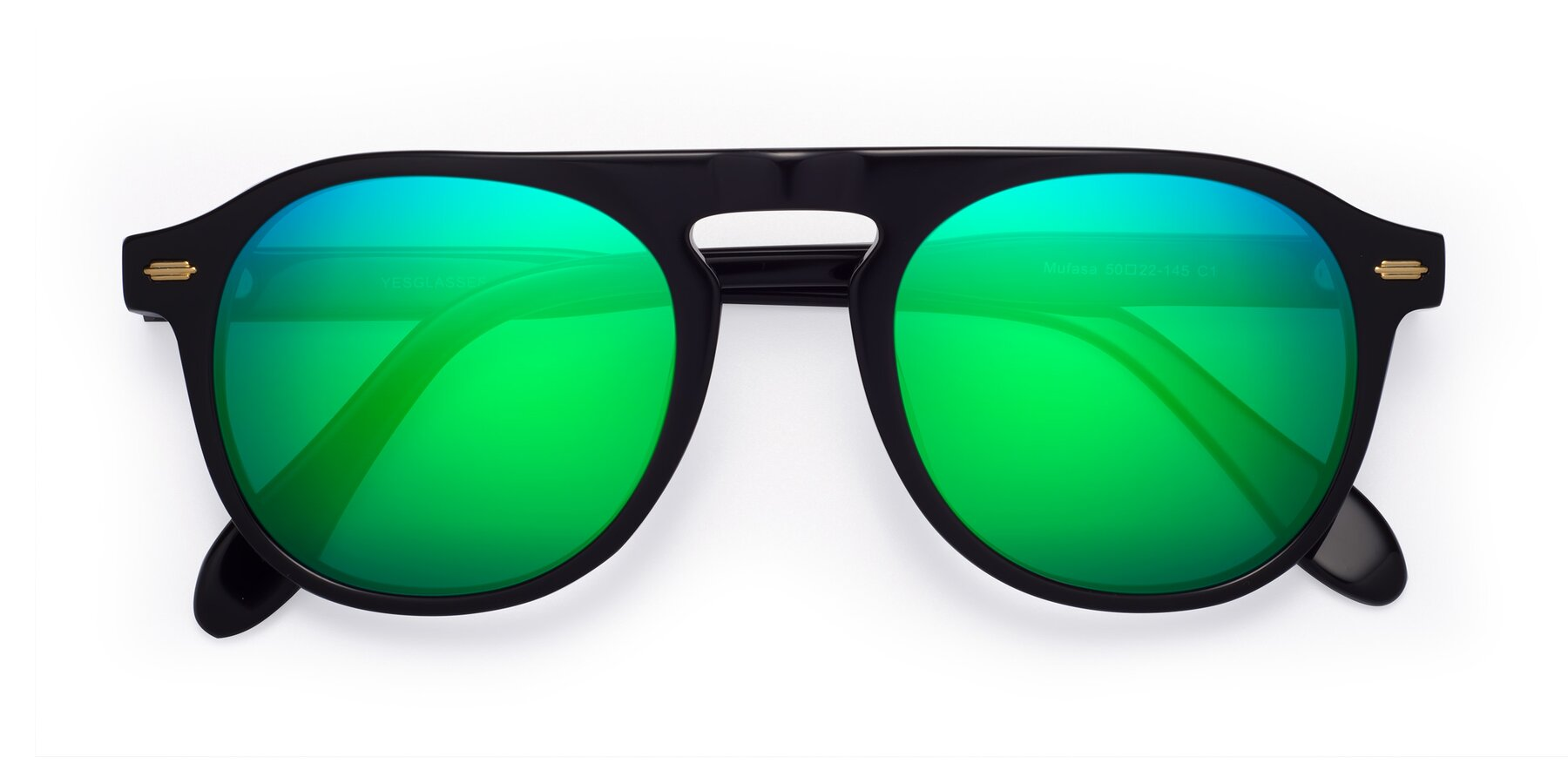 Folded Front of Mufasa in Black with Green Mirrored Lenses