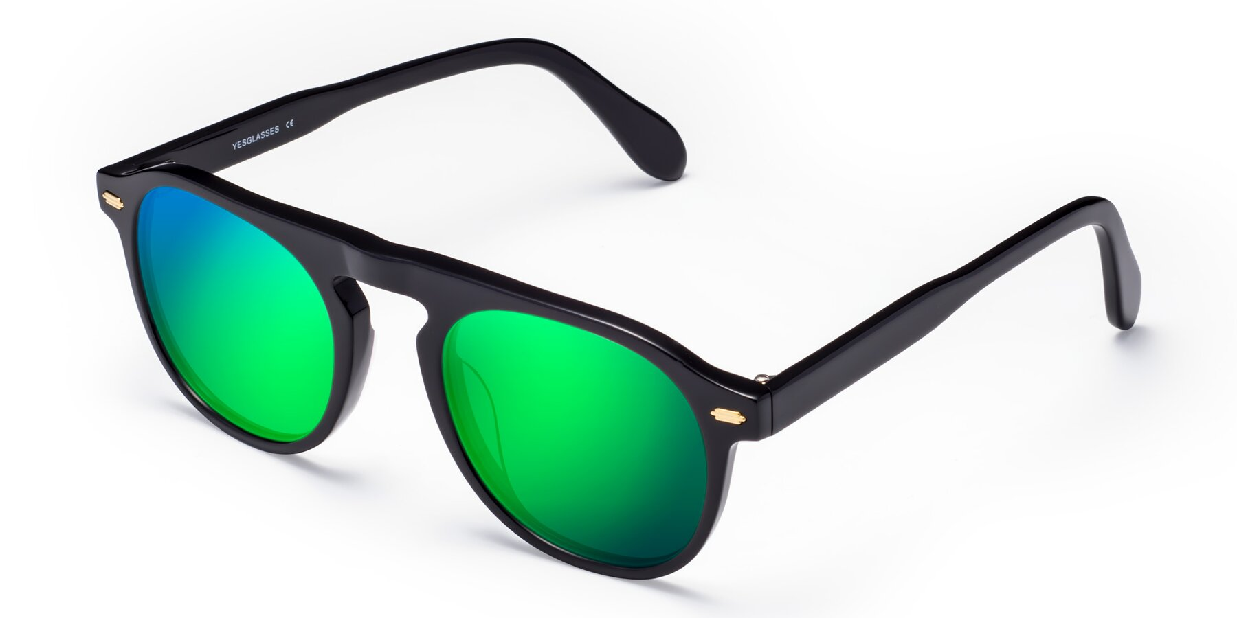 Angle of Mufasa in Black with Green Mirrored Lenses
