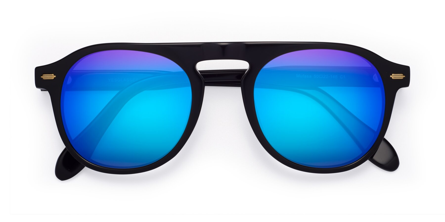 Folded Front of Mufasa in Black with Blue Mirrored Lenses