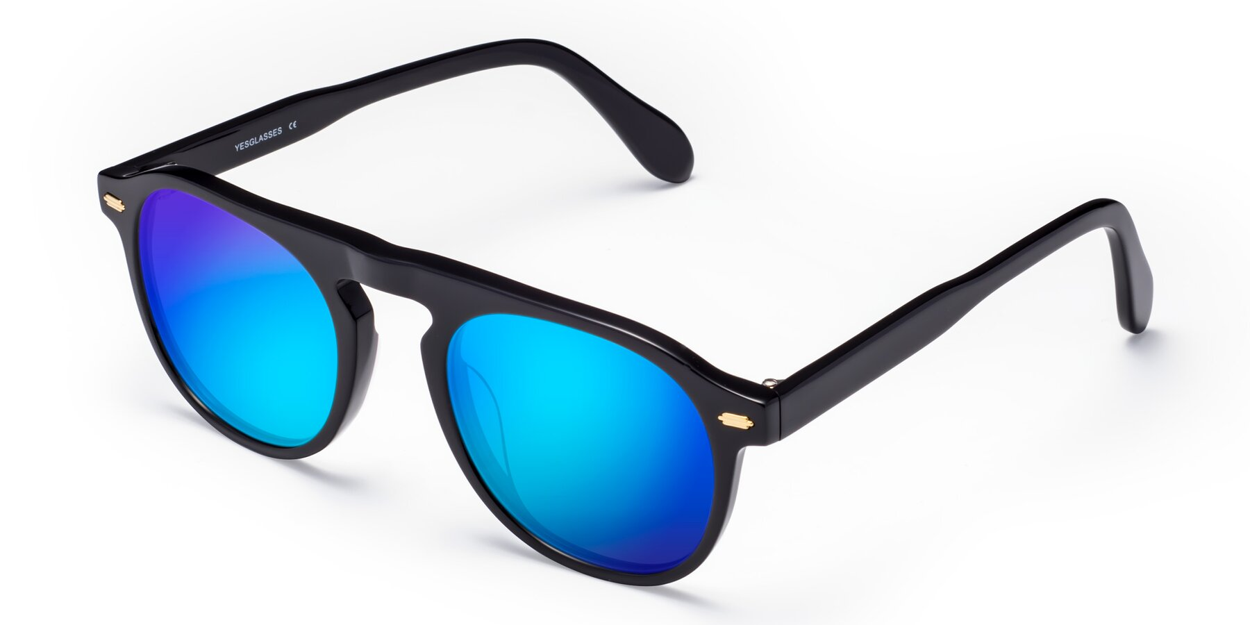 Angle of Mufasa in Black with Blue Mirrored Lenses