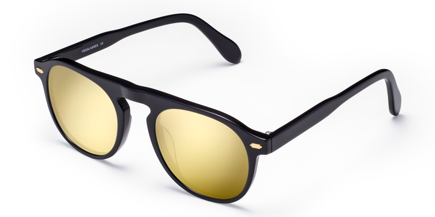 Angle of Mufasa in Black with Gold Mirrored Lenses