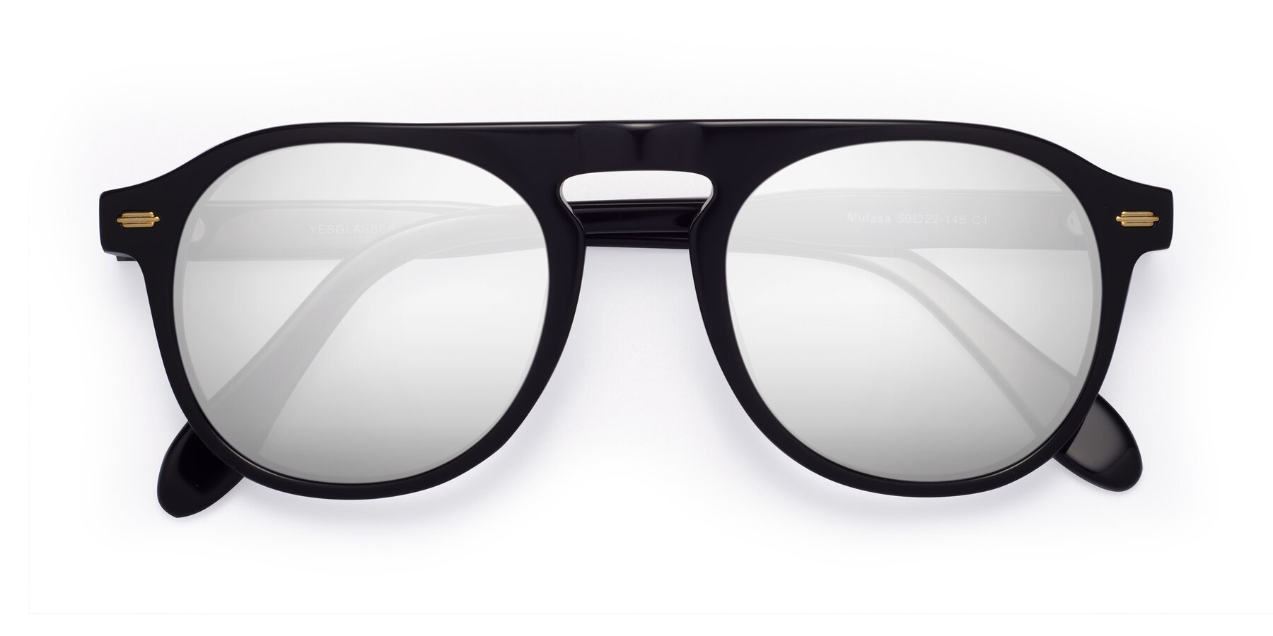 Folded Front of Mufasa in Black with Silver Mirrored Lenses