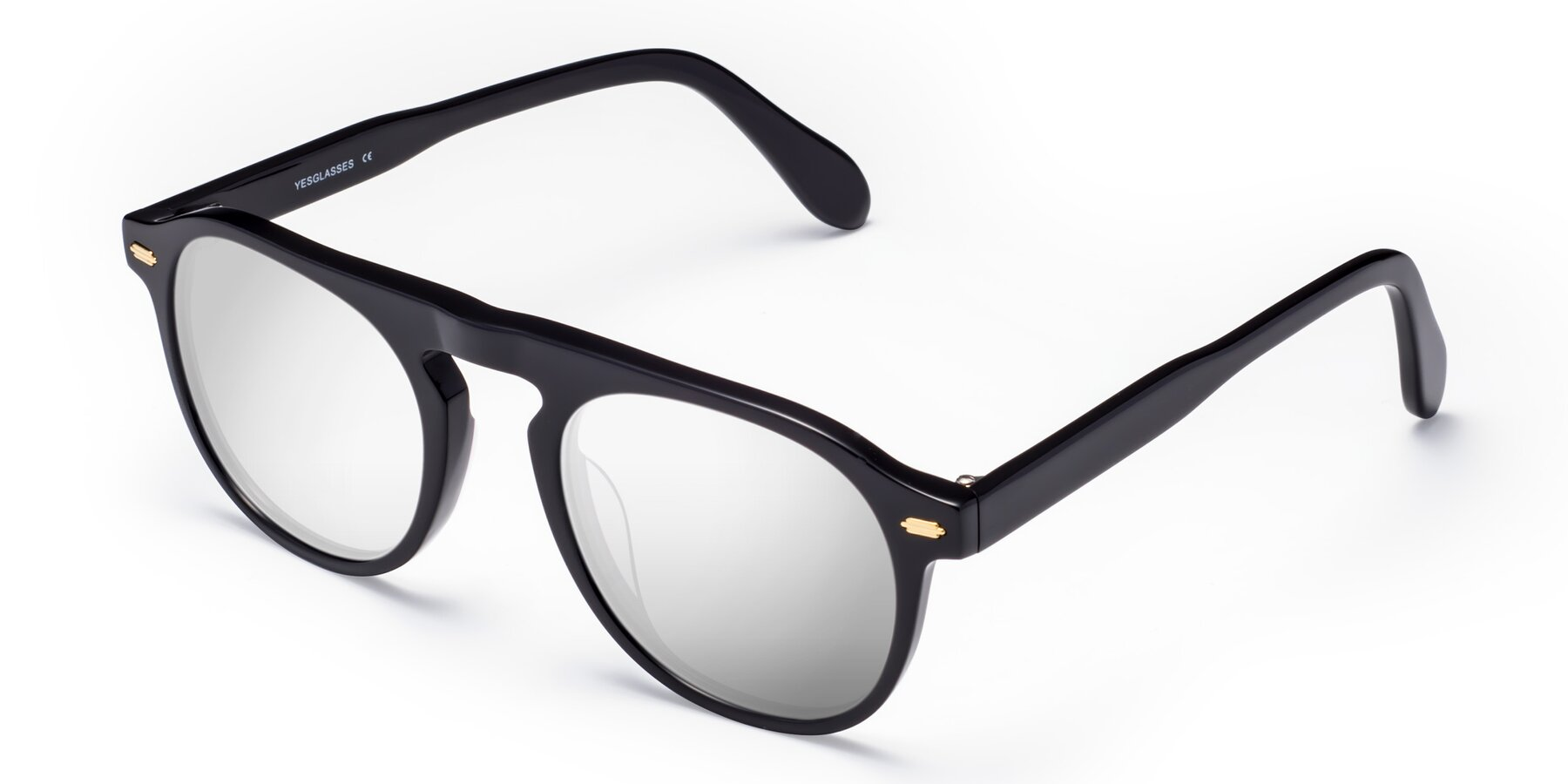 Angle of Mufasa in Black with Silver Mirrored Lenses