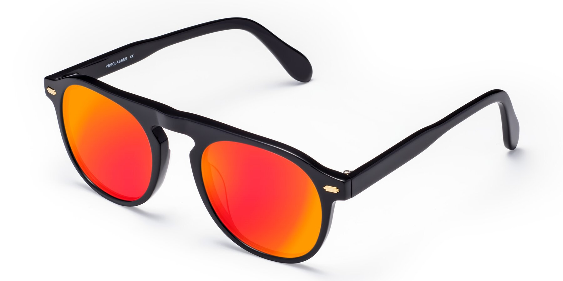 Angle of Mufasa in Black with Red Gold Mirrored Lenses