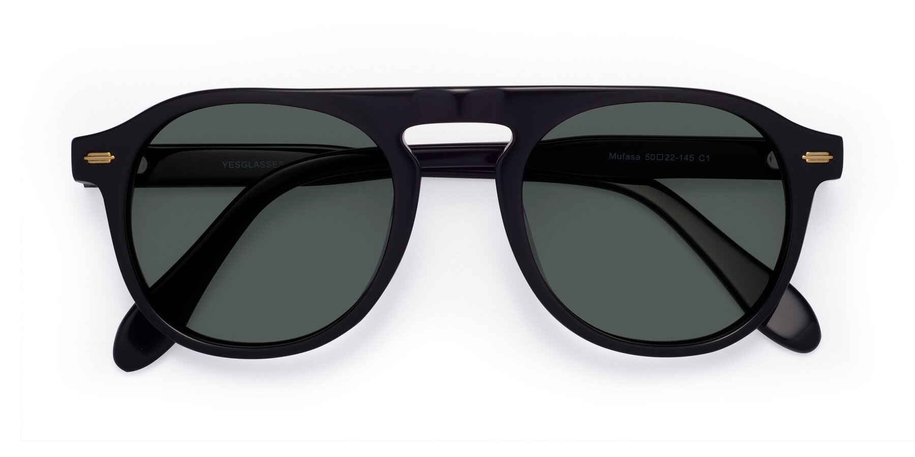 Folded Front of Mufasa in Black with Gray Polarized Lenses