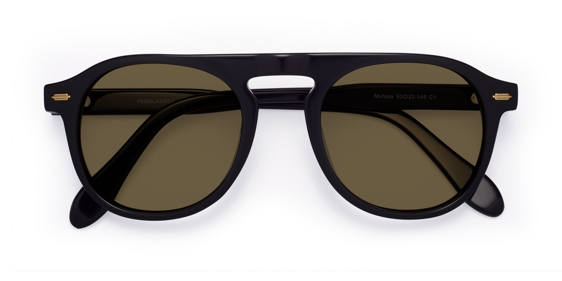 Folded Front of Mufasa in Black with Brown Polarized Lenses