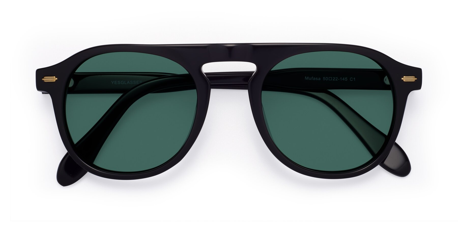 Folded Front of Mufasa in Black with Green Polarized Lenses