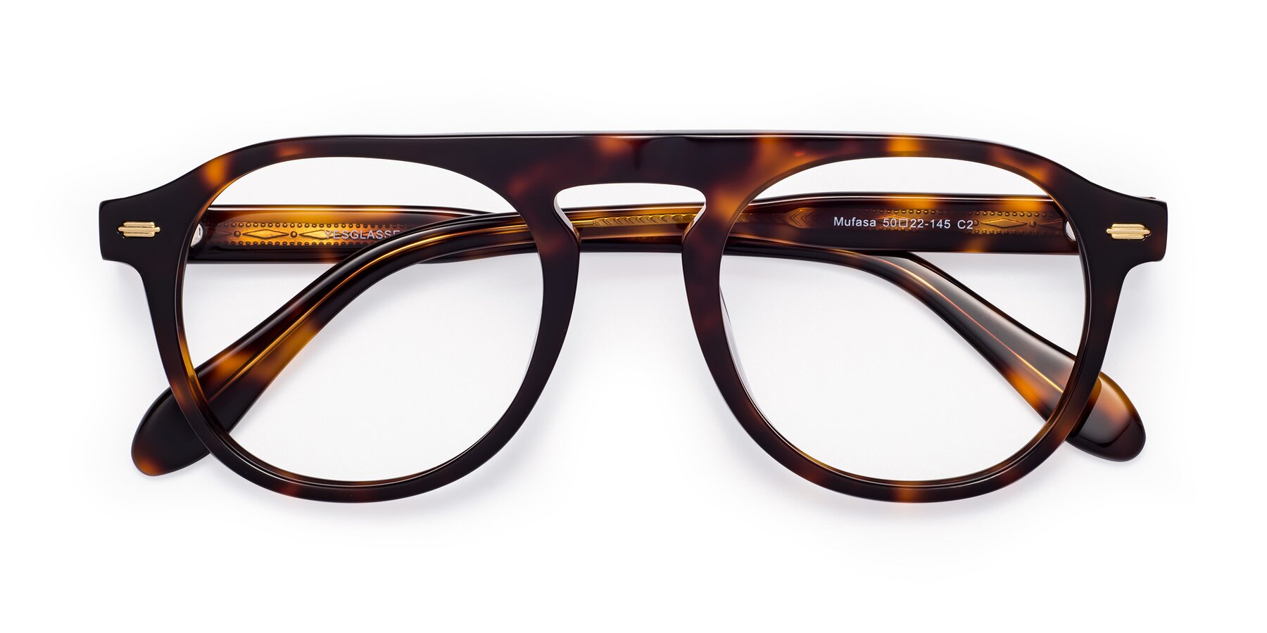 Folded Front of Mufasa in Tortoise with Clear Eyeglass Lenses