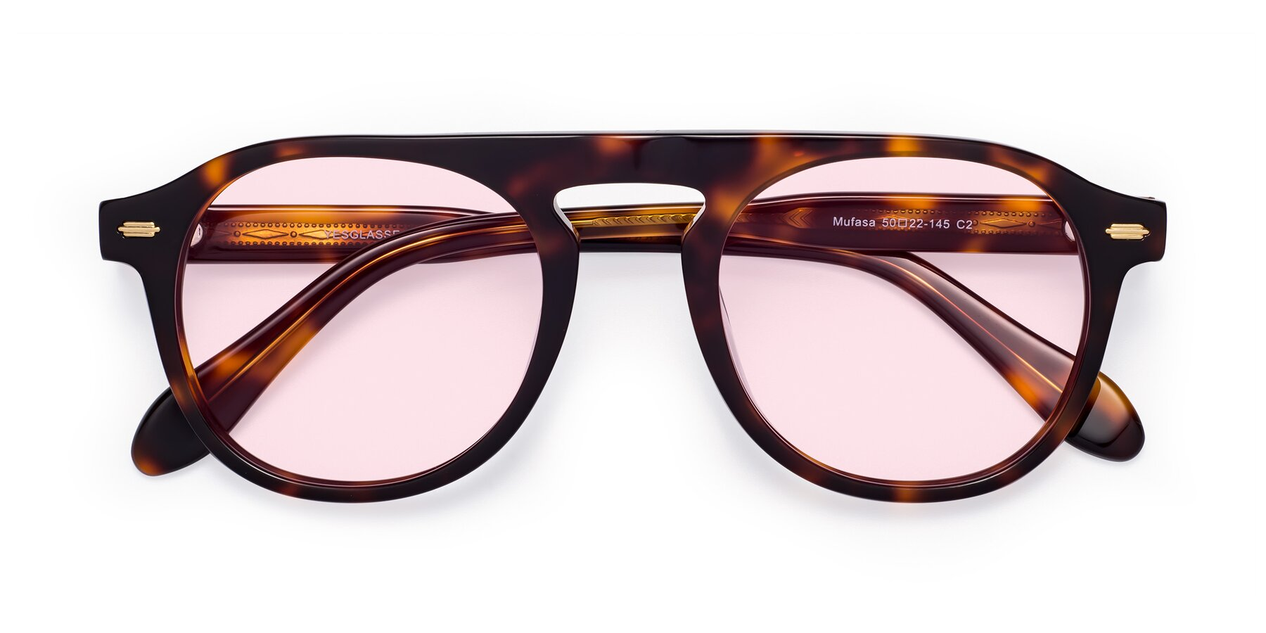 Folded Front of Mufasa in Tortoise with Light Pink Tinted Lenses