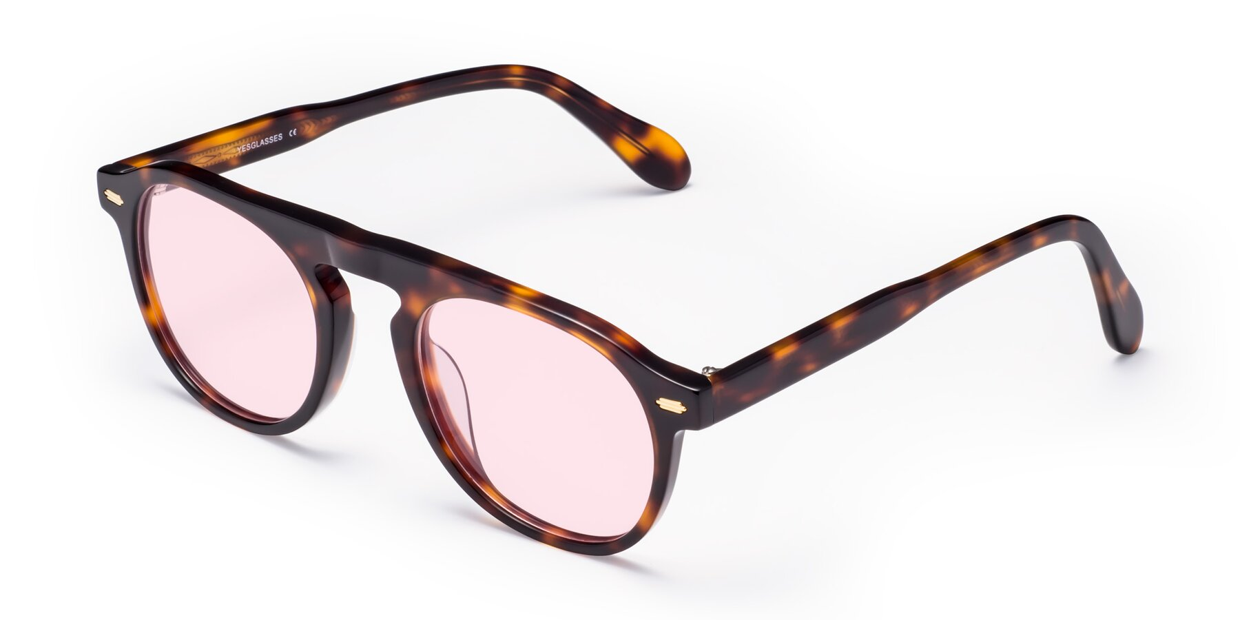 Angle of Mufasa in Tortoise with Light Pink Tinted Lenses