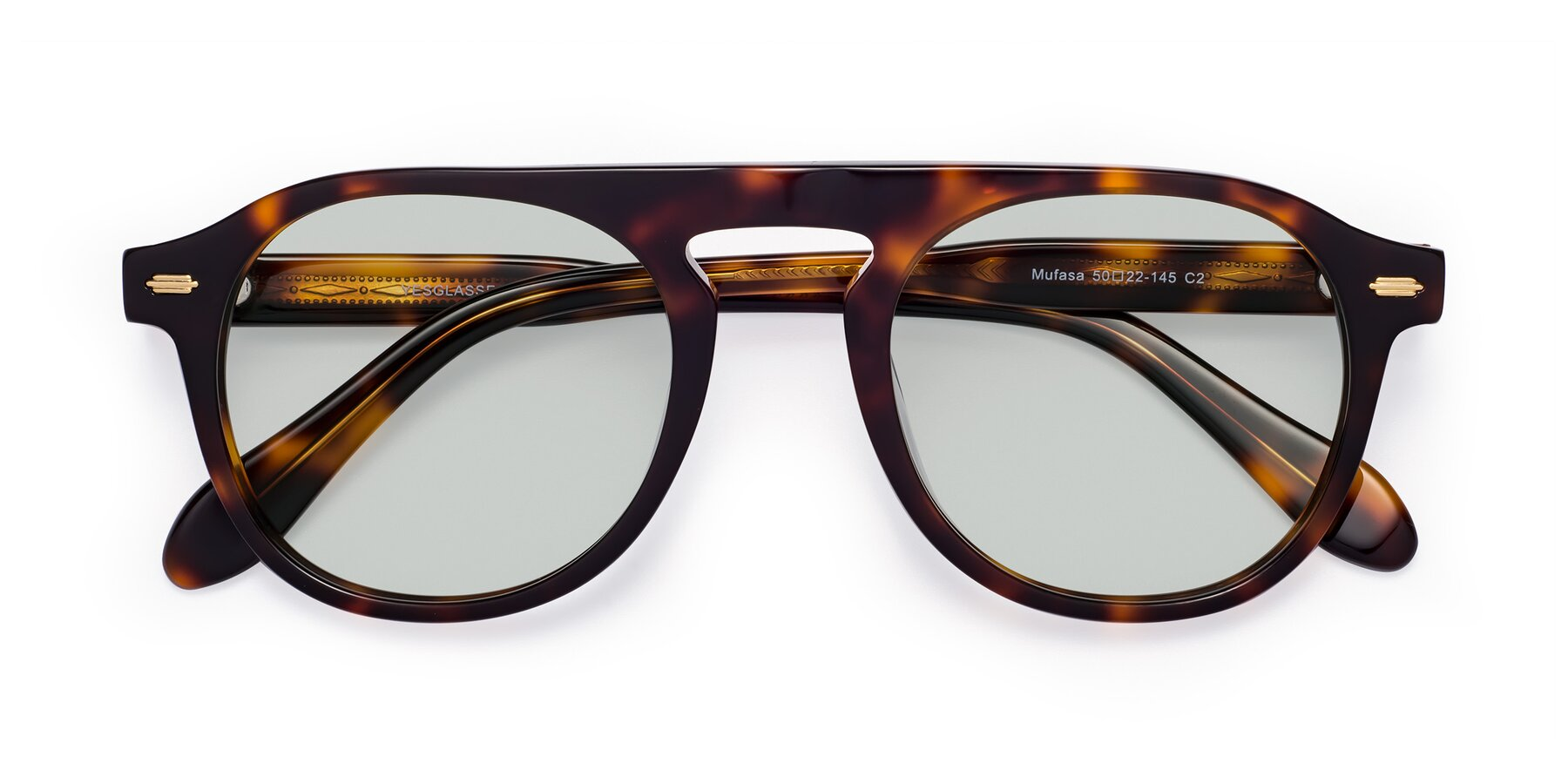 Folded Front of Mufasa in Tortoise with Light Green Tinted Lenses