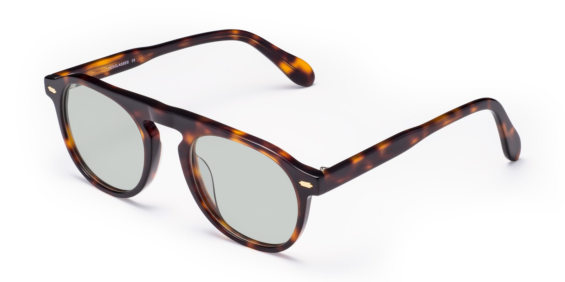 Angle of Mufasa in Tortoise with Light Green Tinted Lenses