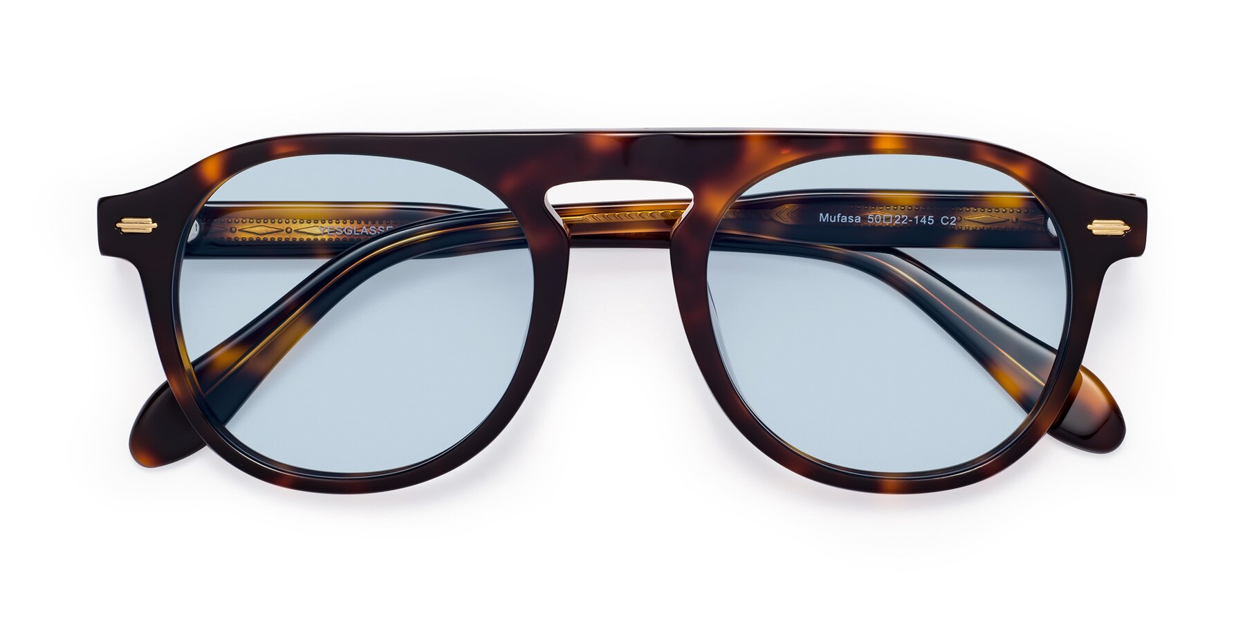 Folded Front of Mufasa in Tortoise with Light Blue Tinted Lenses