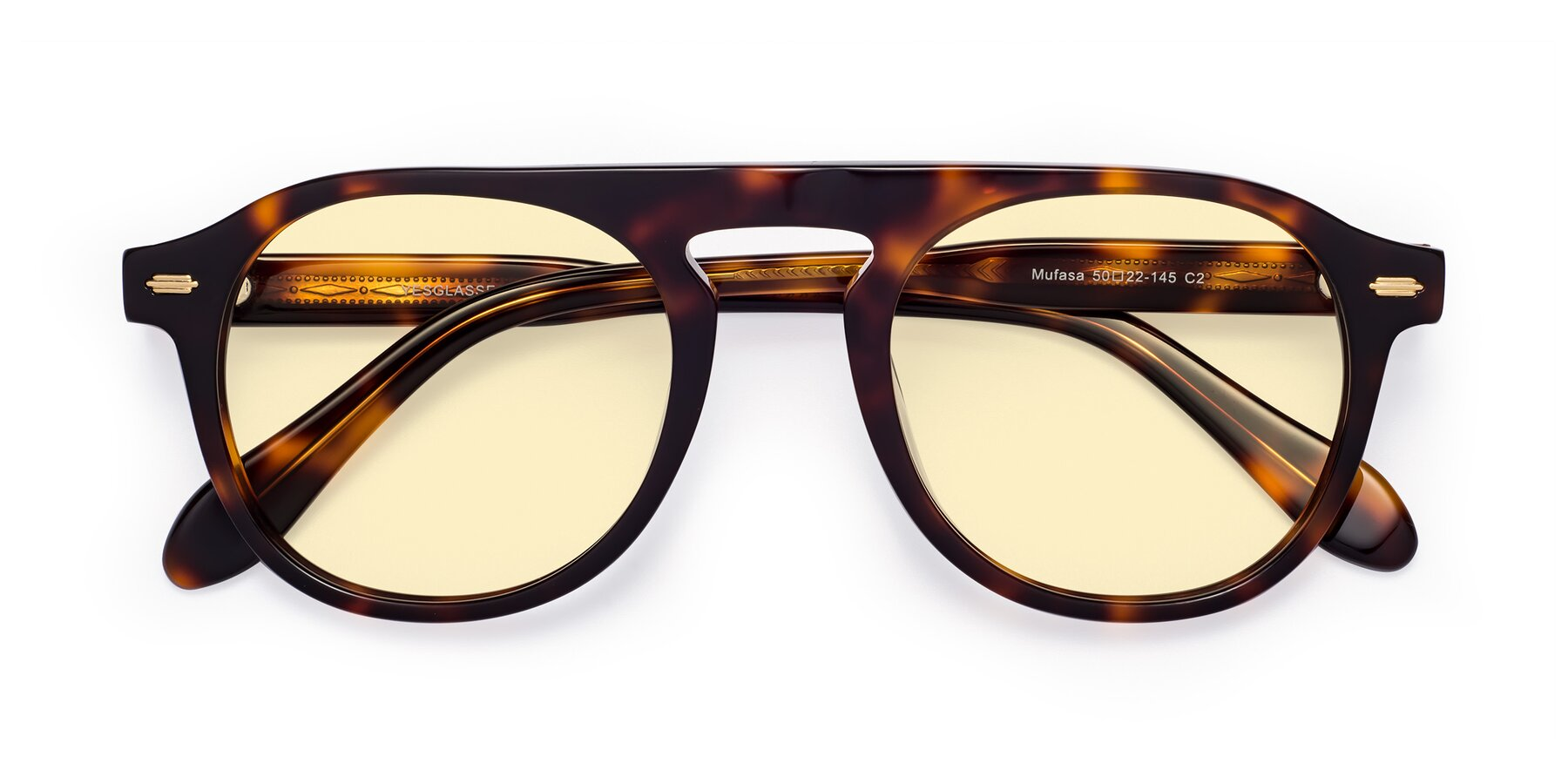 Folded Front of Mufasa in Tortoise with Light Yellow Tinted Lenses