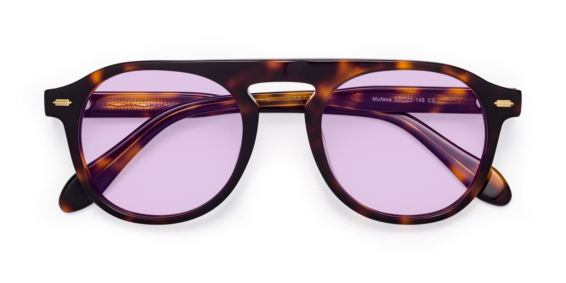 Folded Front of Mufasa in Tortoise with Light Purple Tinted Lenses