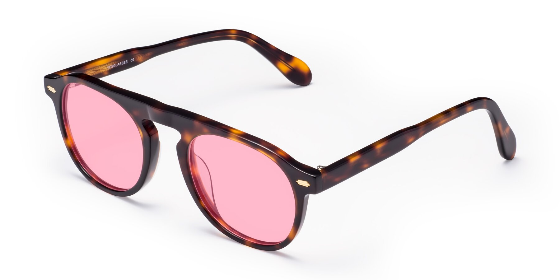 Angle of Mufasa in Tortoise with Medium Pink Tinted Lenses