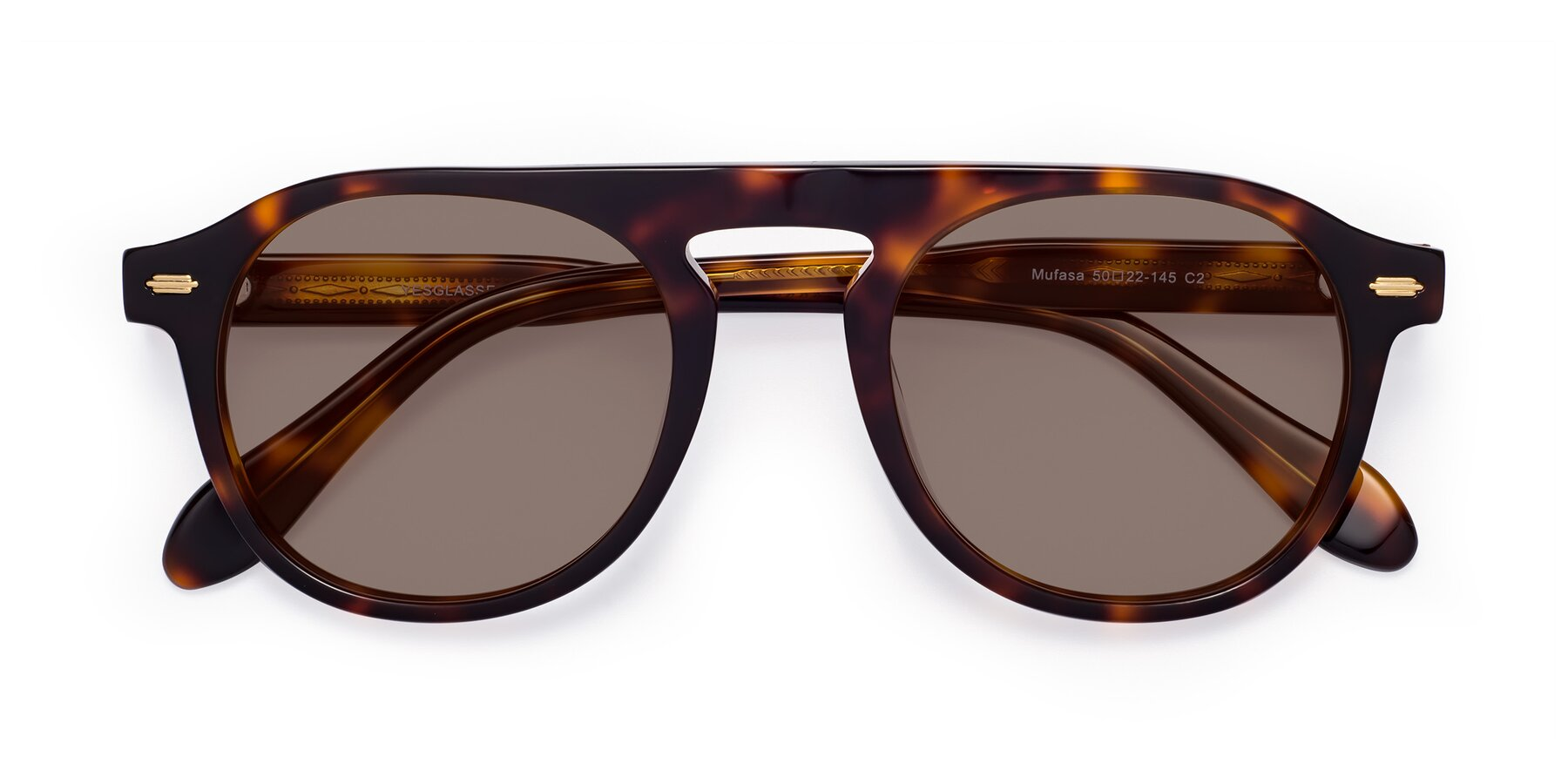 Folded Front of Mufasa in Tortoise with Medium Brown Tinted Lenses