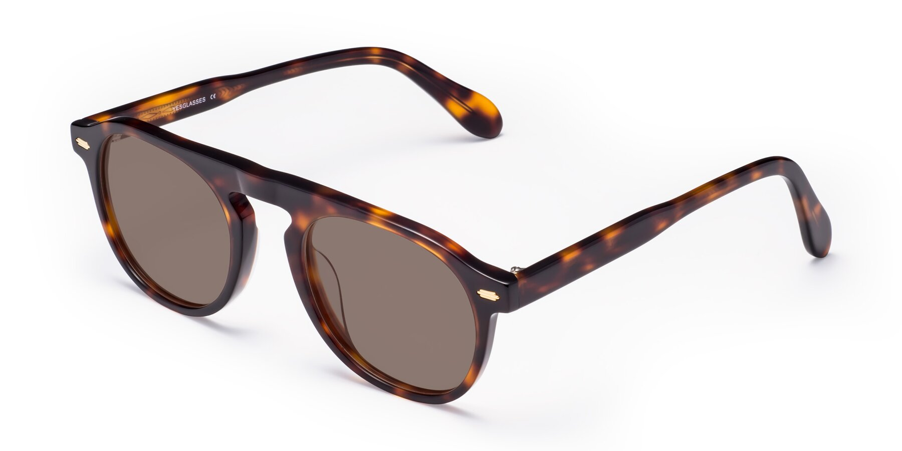 Angle of Mufasa in Tortoise with Medium Brown Tinted Lenses