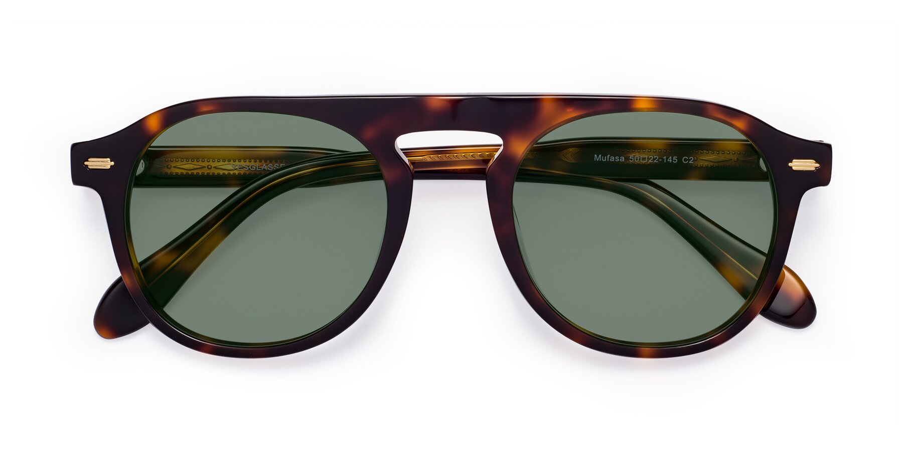 Folded Front of Mufasa in Tortoise with Medium Green Tinted Lenses