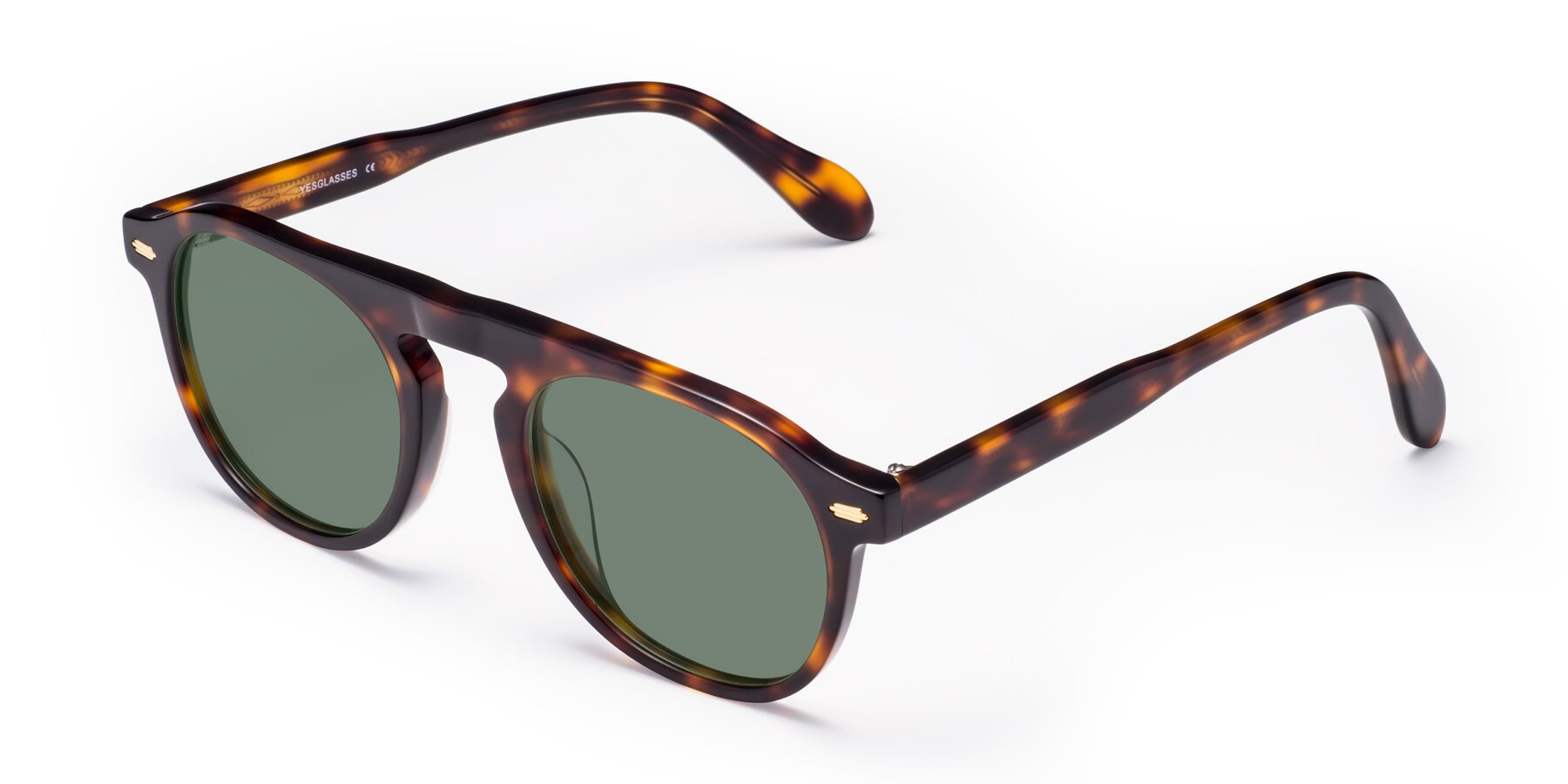 Angle of Mufasa in Tortoise with Medium Green Tinted Lenses