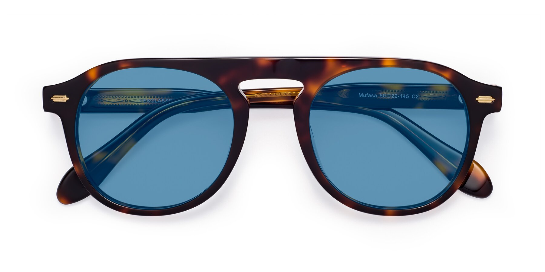 Folded Front of Mufasa in Tortoise with Medium Blue Tinted Lenses