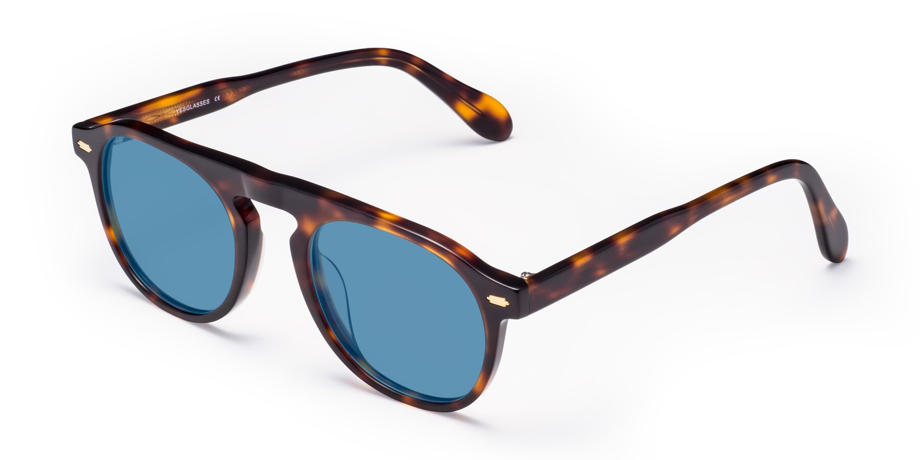 Angle of Mufasa in Tortoise with Medium Blue Tinted Lenses