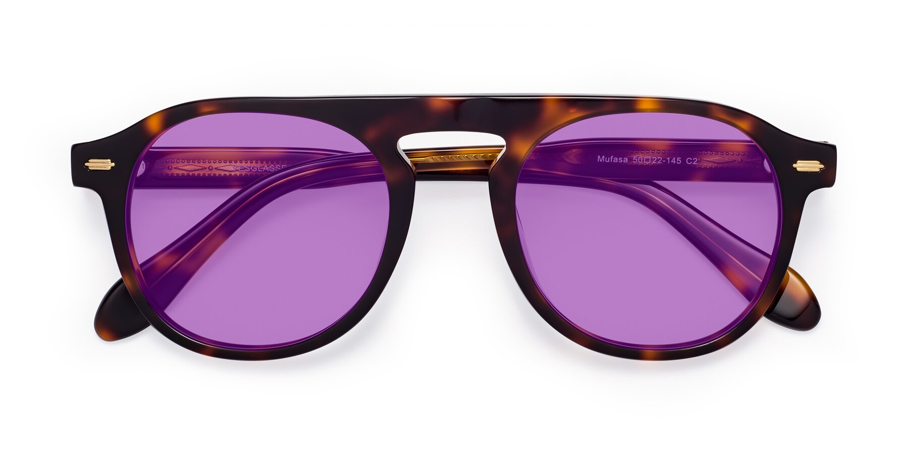 Folded Front of Mufasa in Tortoise with Medium Purple Tinted Lenses