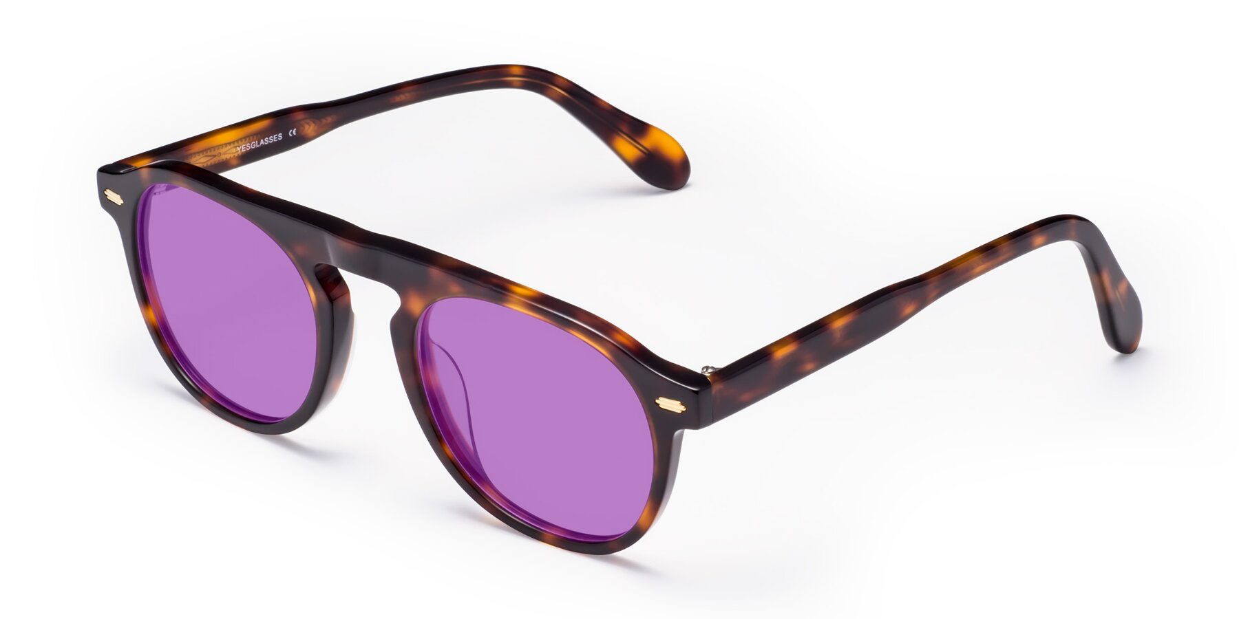 Angle of Mufasa in Tortoise with Medium Purple Tinted Lenses