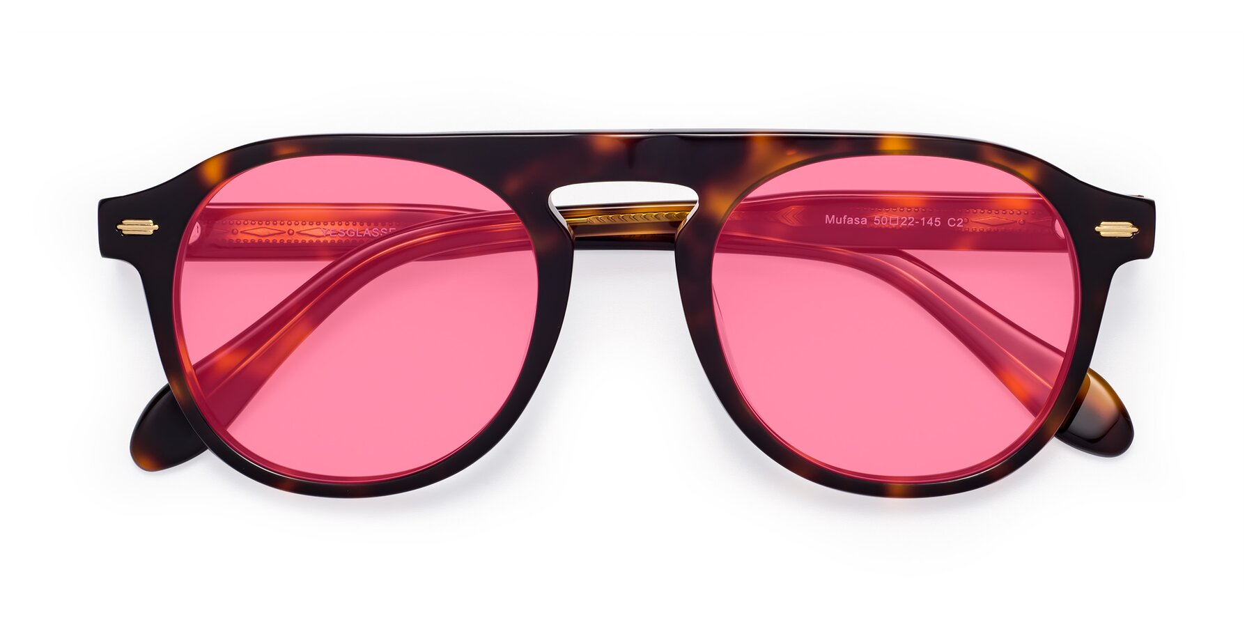 Folded Front of Mufasa in Tortoise with Pink Tinted Lenses