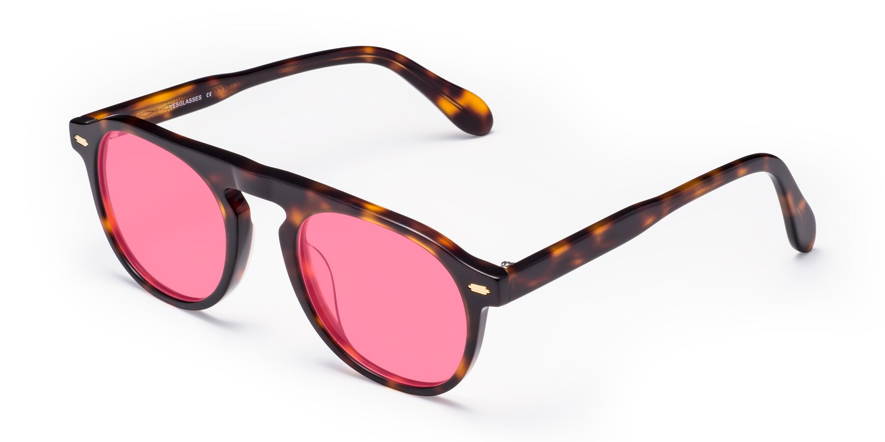 Angle of Mufasa in Tortoise with Pink Tinted Lenses
