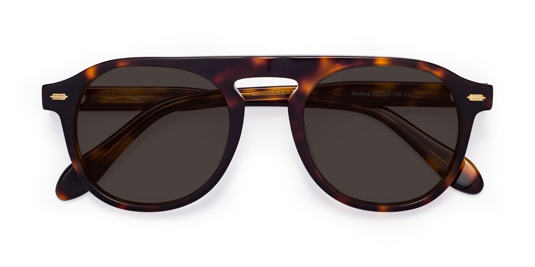 Folded Front of Mufasa in Tortoise with Gray Tinted Lenses