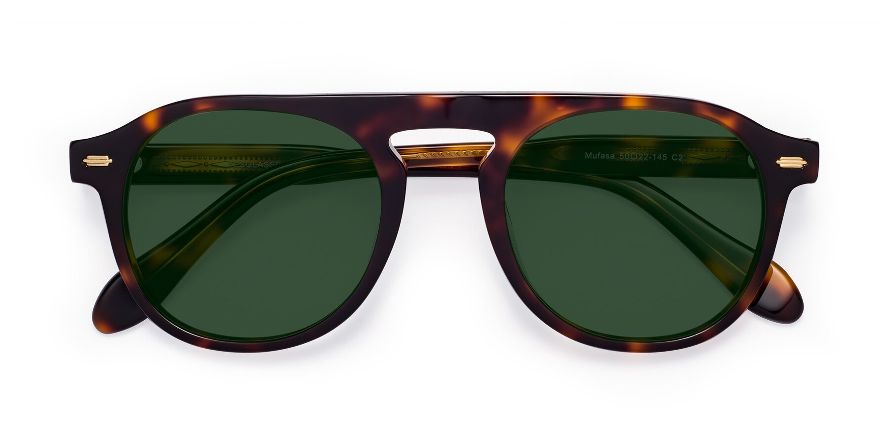 Folded Front of Mufasa in Tortoise with Green Tinted Lenses