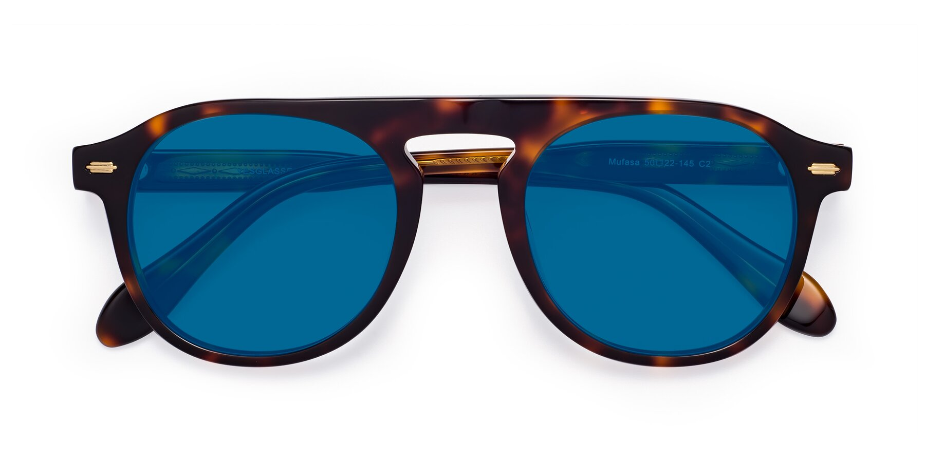 Folded Front of Mufasa in Tortoise with Blue Tinted Lenses