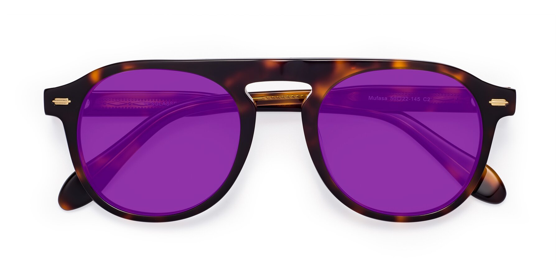 Folded Front of Mufasa in Tortoise with Purple Tinted Lenses