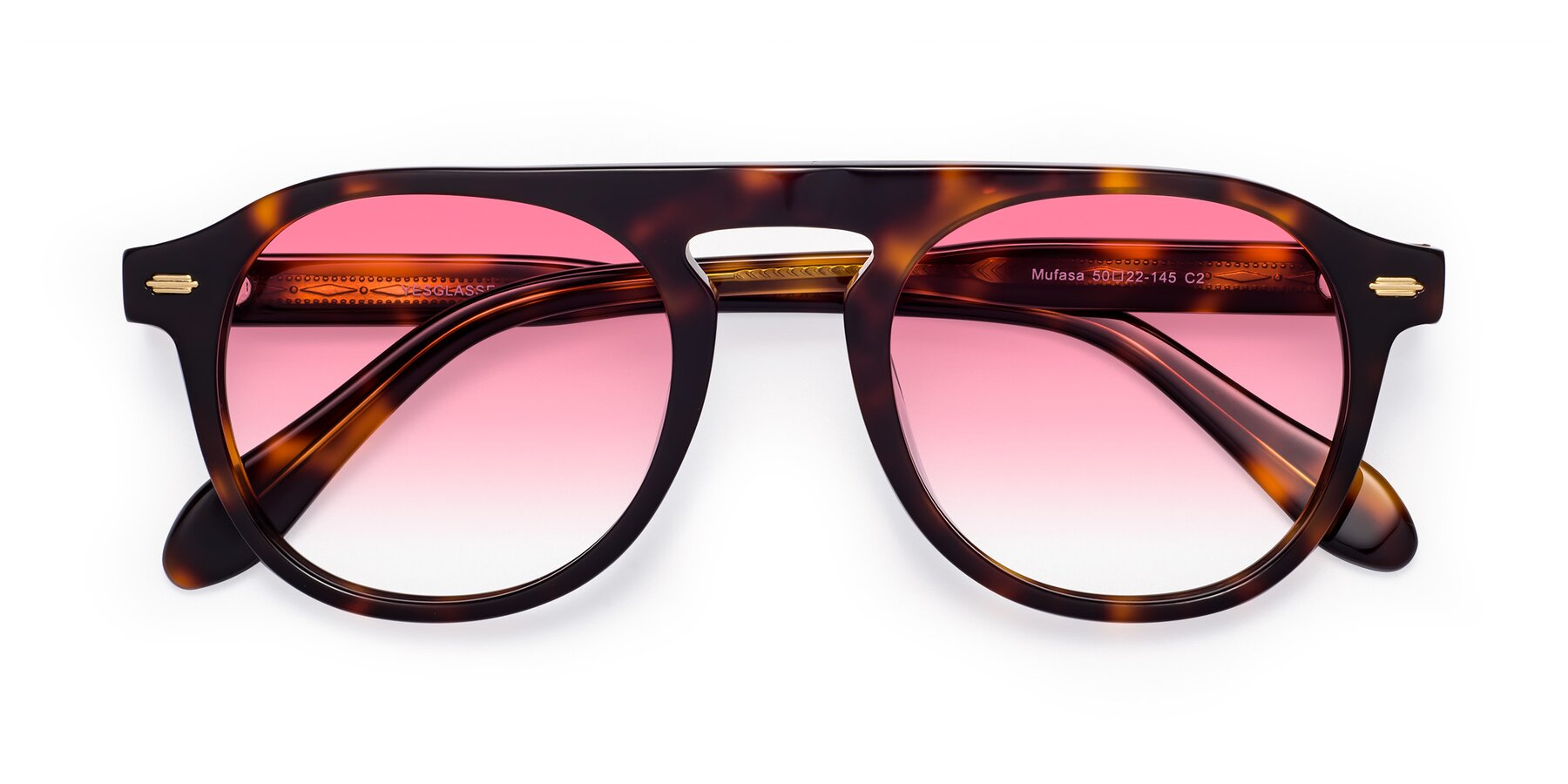 Folded Front of Mufasa in Tortoise with Pink Gradient Lenses