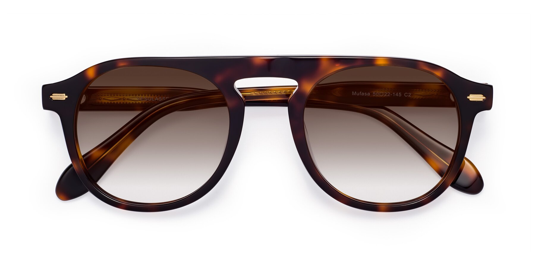 Folded Front of Mufasa in Tortoise with Brown Gradient Lenses