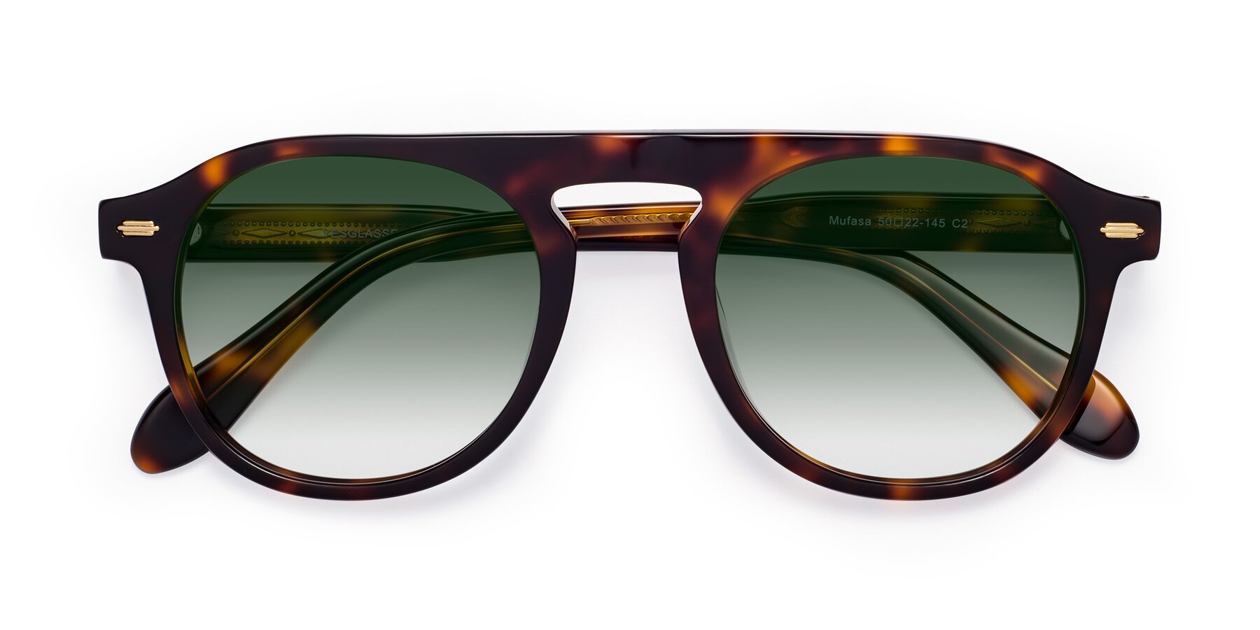 Folded Front of Mufasa in Tortoise with Green Gradient Lenses