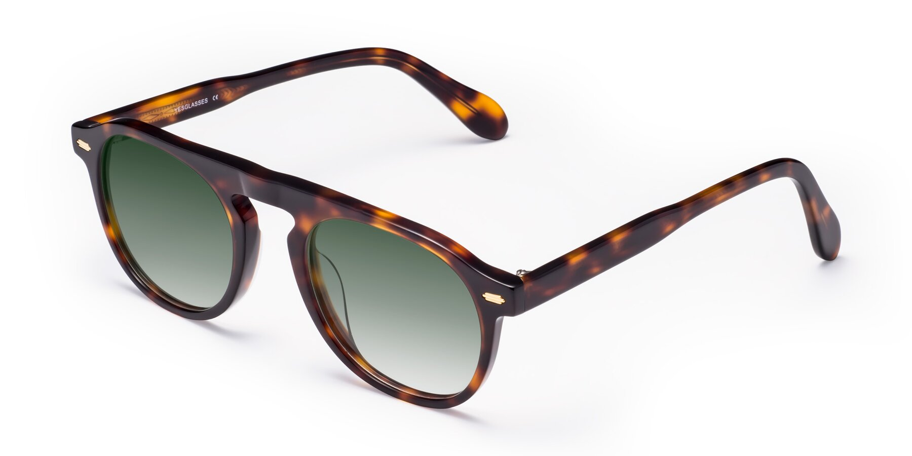 Angle of Mufasa in Tortoise with Green Gradient Lenses