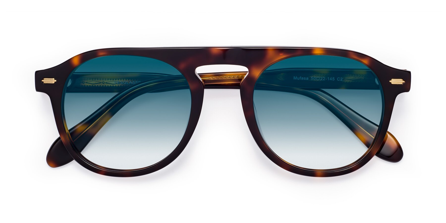 Folded Front of Mufasa in Tortoise with Blue Gradient Lenses