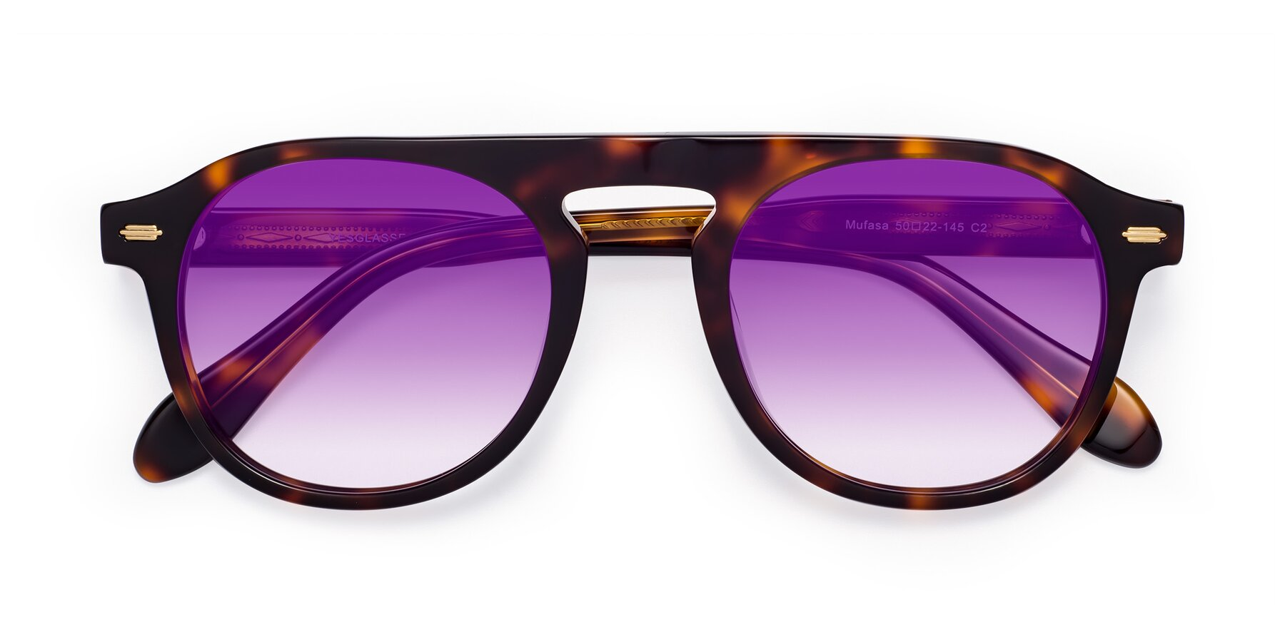 Folded Front of Mufasa in Tortoise with Purple Gradient Lenses