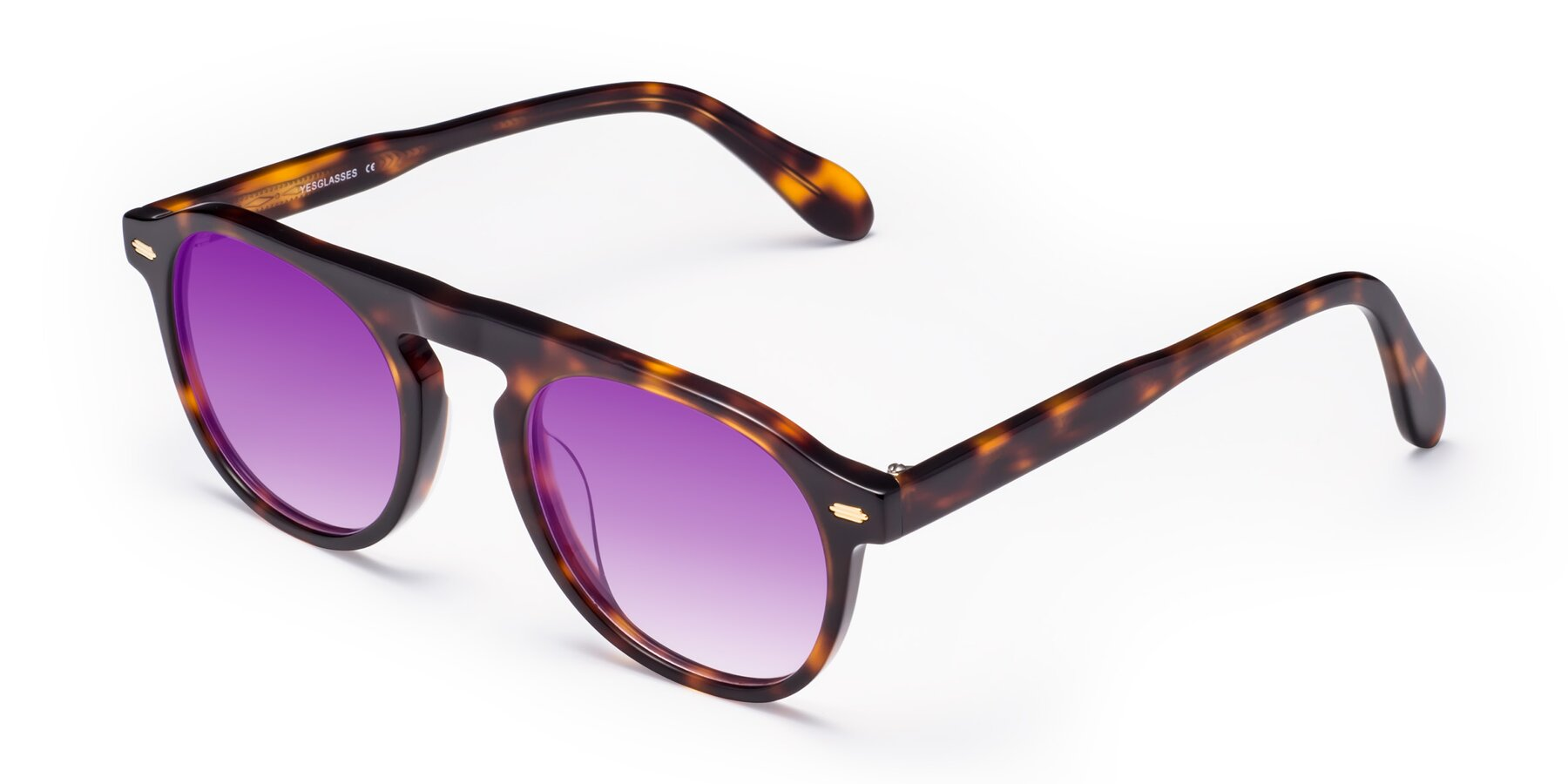 Angle of Mufasa in Tortoise with Purple Gradient Lenses
