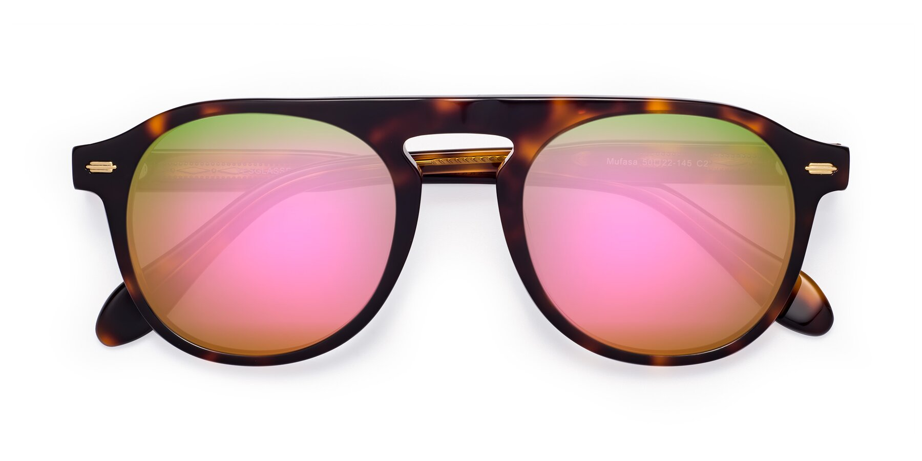 Folded Front of Mufasa in Tortoise with Pink Mirrored Lenses