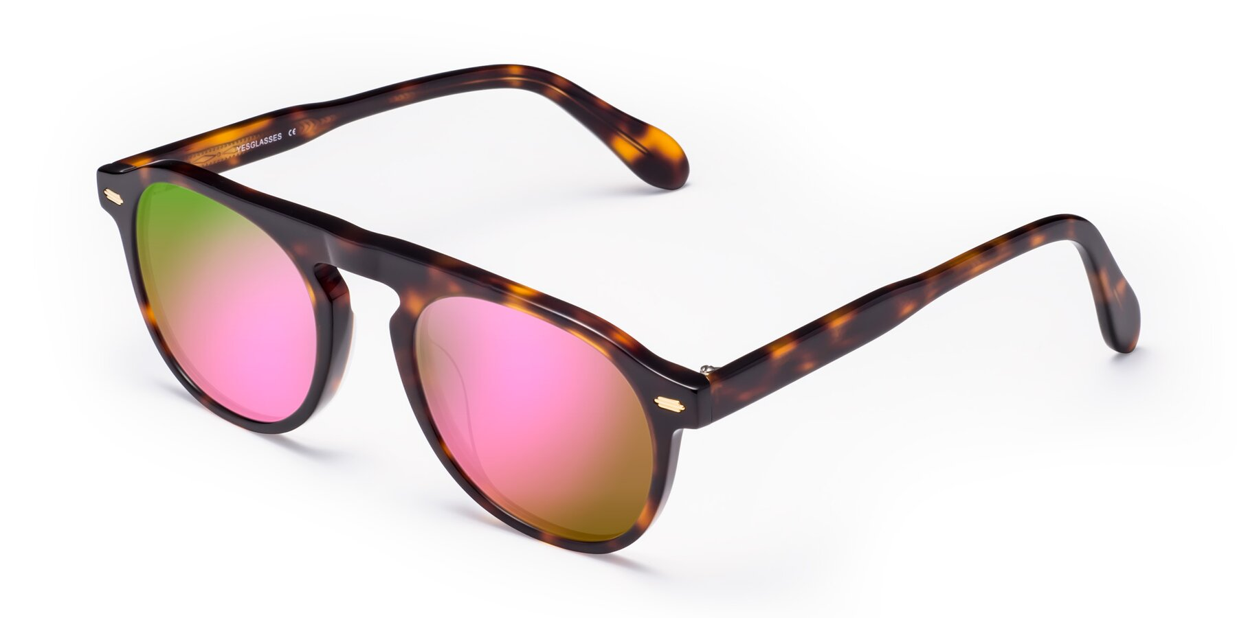 Angle of Mufasa in Tortoise with Pink Mirrored Lenses