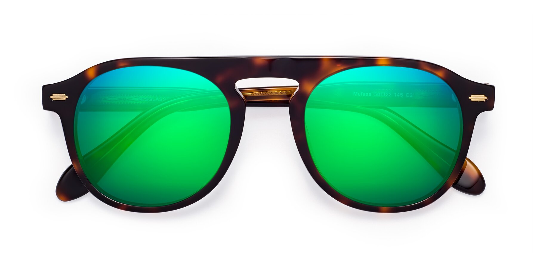 Folded Front of Mufasa in Tortoise with Green Mirrored Lenses